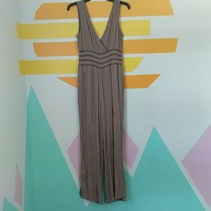 Solitaire Taupe smock Waist Crinkle Jumpsuit